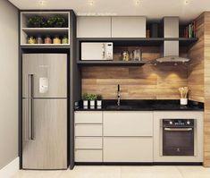 Cozinha pequena, prática e funcional! Tem também ✔️ Projeto e 3 Kitchen Room Design, Modern Kitchen Design, Home Decor Kitchen, Interior Design Kitchen, Kitchen Furniture, Home Kitchens, Galley Kitchens, Luxury Kitchens, Kitchen Layout