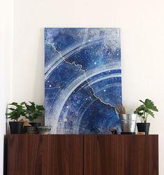 "50x70cm (19x27"") Canvas, Abstract original acrylic painting- fluid art- blue, white- wall art- home, office- contemporary art- modern"