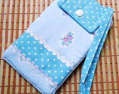Carteira Porta Celular-Floral Azul