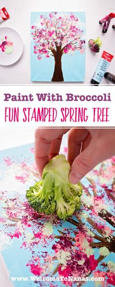 Paint With Broccoli: Fun Stamped Spring Tree - Welcome To Nana's