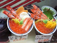 Fantasic Seafood Lunches, Hakodate, Hokkaido, Japan by jdcb42, via Flickr - I love the one on the right with Ikura (salmon roe) and the Uni (sea urchin/yellow stuff). Better than those same old sushi rolls!