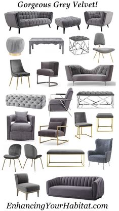 Grey Velvet Furniture sofas chairs o Velvet Furniture, Home Decor Furniture, Sofa Furniture, Luxury Furniture, Living Room Furniture, Living Room Decor, Furniture Design, Sofa Chair, Upholstered Chairs