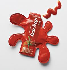 Very creative ketchup packet design - fun! Probably slightly more difficult to get out all the ketchup, but I'd try it.