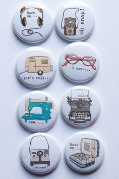 So Retro, Design 2 flair buttons $6.25  skylinepaperie.com