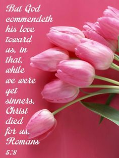 Romans (KJV) But God commendeth his love toward us, in that, while we were yet sinners, Christ died for us. Favorite Bible Verses, Bible Verses Quotes, Bible Scriptures, Scripture Verses, Wisdom Quotes, Love The Lord, Gods Love, Romans 5 8, King James Bible