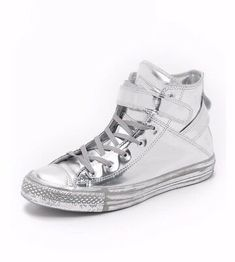 Guc Silver Brea Chuck Taylors Featuring A Sleek Wraparound Ankle Strap On An Iconic Sneaker. Metallic Leather For A Street Smart Update To An American Classic. Converse All Star, Converse Shoes, Women's Shoes, Metallic Leather, Black Leather, E Bay, Chuck Taylors, Sneakers Fashion, Athletic Shoes