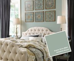 Wall Color: Scenic Drive 697 by Benjamin Moore January-February 2013 Paint Colors Grey Wood Furniture, Painted Furniture, Bedroom Furniture, Bedroom Decor, Bedroom Ideas, Bedroom Headboards, Favorite Paint Colors, Wood Beds, Luxury Interior Design