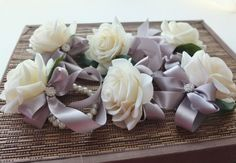 Wrist Corsage Off White Rose with Grey ribbon by LoveMimosaFleur