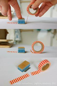 Papieren Avonturen: how to make a 'tape cutter' http://papierenavonturen.blogspot.com/2013/11/hoe-maak-je-een-tape-mesje-how-to-make.html