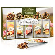 Tea Forte Single Steeps Loose Tea Sampler - Garden Harvest Whites by Tea Forte - come check out the Tea Forte we carry Accents Tea Gifts, Food Gifts, Ginger Peach, Tea Packaging, Packaging Design, Luxury Packaging, Coffee Store, Brewing Tea, Tea Blends