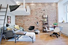 brick wall in a studio apartment