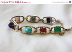 Easter Sale Vintage Cabochon Bracelet Gemstone Lapis by patwatty