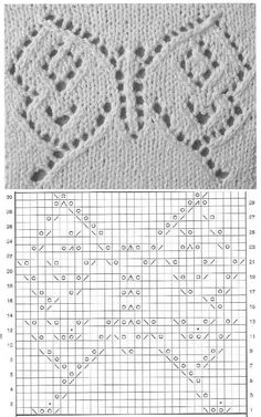 lace knitting : butterfly Knitting Basics, Knitting Stiches, Easy Knitting Patterns, Crochet Stitches Patterns, Knitting Charts, Lace Patterns, Lace Knitting, Stitch Patterns, Butterfly Stitches