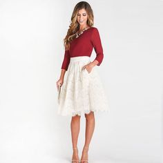 Ivory Lace Short Skirts For Women 2016 Custom Made A Line Invisible Zipper Knee Length Skirts #Affiliate