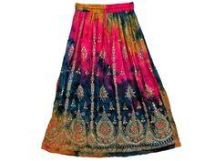 Long Sequin Skirt Lehenga Print Rayon Beaded Tie Dye Boho Gypsy Skirt 36 inch | eBay