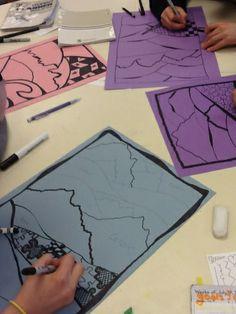 Art at Becker Middle School: Zentangle Landscapes Middle School Art Projects, High School Art, Landscape Art Lessons, 2nd Grade Art, Ecole Art, Tangle Art, Collages, Art Lesson Plans, Art Classroom