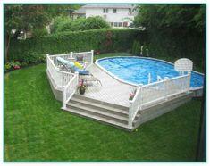 Semi Inground Pool Deck, Above Ground Swimming Pools, Swimming Pools Backyard, Pool Spa, In Ground Pools, Lap Pools, Indoor Pools, Diy Pool, Above Ground Pool Landscaping