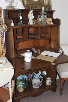 Antique ladies Secretaries Desk, , dropfront, 2 Drawers, book shelves...$175