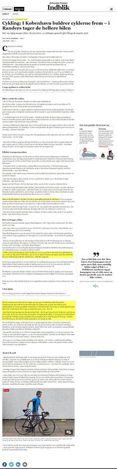 Uddrag af indledende artikel fra JP om nedgangen i cykling, hvor Randers sammenlignes med København. På mit forslag tog JP en snak med bilkørende handlende i Føtex, Mariagervej.