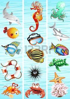 marine animals cartoon banners