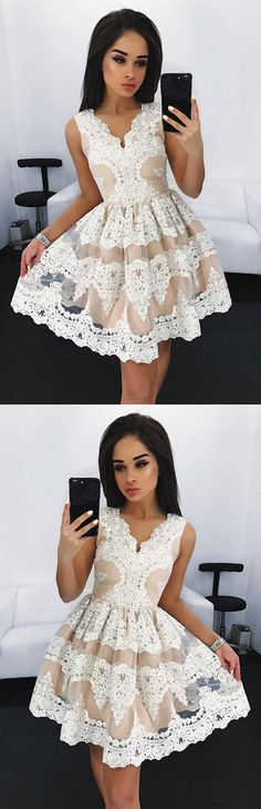 Cute white short lace prom dress, cute homecoming dress