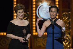 "Jeanine Tesori (L) and Lisa Kron accept the award for Best Book of a Musical for ""Fun Home"". REUTERS/Lucas Jackson"