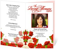 Diva Preprinted Title Letter Single Fold Program Template Design Layout. Place order of service information in bulletin. Available in red (shown) or purple flowers.