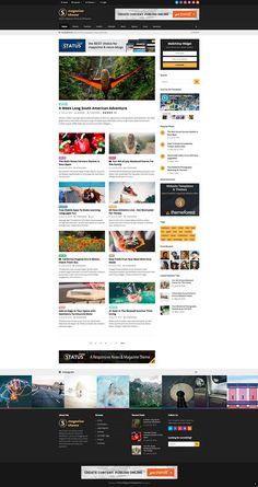 Status is an easy multi-use and responsive news, magazine and blog style WordPress theme by WPExplorer full of customization options and unique features. Blog Website Design, Website Themes, Website Design Inspiration, Design Ideas, Wordpress Theme Design, Website Template, Magazine Website, Web News, Wireframe