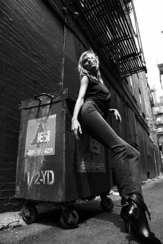 After starring in spread throughout New York City, Anja Rubik poses for the BLK…