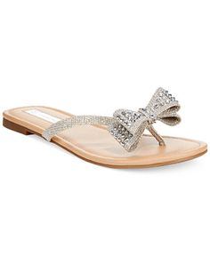 565309162589a1 INC International Concepts Malissa Rhinestone Bow Flat Sandals Bow Sandals