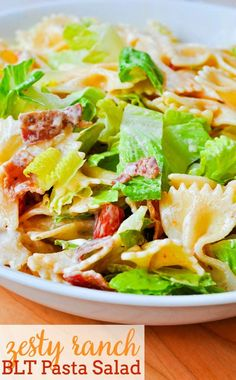 Add a new side dish to your table and toss up this Zesty Ranch BLT Pasta Salad! With a Ranch dressing, it's sure to be a crowd pleaser! | The Love Nerds