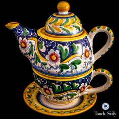 Italian pottery -Tower Tea pot & cup - Each piece from Touch of Sicily is hand painted and hand made.