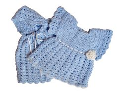 Dress Light Blue with Cape Baby Dress Hooded Crochet by knitwhats, $55.00