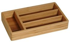 Bamboo Cutlery Tray W/4 Compartments. 12 X 7 X 2'