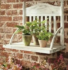 Old wooden, recycled chair makes bench, or shelf!! Too cool!!!