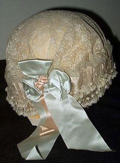Lingerie Vintage - Bonnet de Nuit - Soie, Satin et Dentelle - Années 20