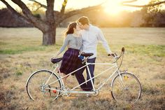 couple and a tandem bike