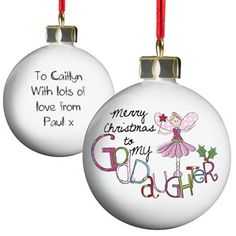 this personalised tree bauble makes a great gift for your godmother this christmas
