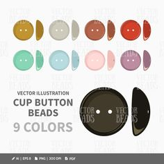 Cup Button Beads Vector Graphics - ai, eps, pdf, png by VectorBeads on Etsy