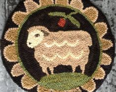 Miss Woolsey   LINEN Rug Hooking Pattern From My Winter Cottage. Hand Drawn  On Quality Primitive Linen With Generous Borders Included.