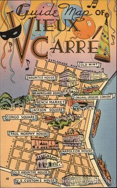 Map of Vieux Carre (the French Quarter), New Orleans, LA