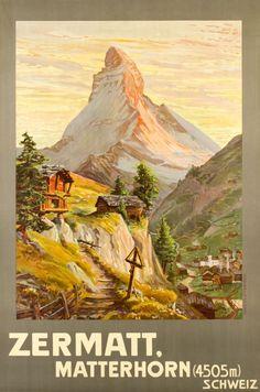 1904 Zermatt, Matterhorn, Switzerland vintage travel poster