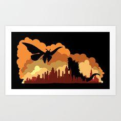 Godzilla versus Mothra cityscape Art Print by kamonkey - $16.00