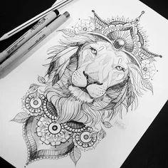 Sigam no instagra mandala lion tattoo, lion thigh tattoo, Leo Tattoos, Future Tattoos, Body Art Tattoos, Sleeve Tattoos, Tatoos, Thigh Sleeve Tattoo, Back Of Thigh Tattoo, Crazy Tattoos, Hip Tattoos Women