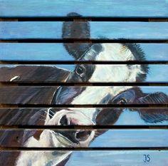 Koe, geschilderd met acrylverf op een houten pallet  50x50  Leuk als decoratie in en om het huis.