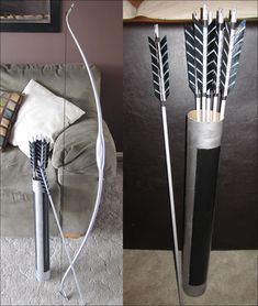 sugarpoultry:    The Hunger Games Katniss' Bow and Arrows by =sugarpoultry  My Katniss costume is complete! Pictures of the entire thing will be up soon!    Very cool!