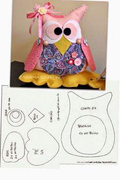 ARTE COM QUIANE - Paps,Moldes,E.V.A,Feltro,Costuras,Fofuchas 3D: corujinha de feltro