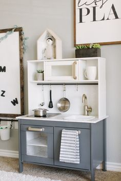 Fantastic Photos Playroom Makeover Suggestions On among my very frequent visits to IKEA I discovered cheaper lacking platforms that have been the Playroom Closet, Playroom Organization, Ikea Playroom, Dinette Ikea, Ikea Kids Kitchen, Kitchen Ideas, Kitchen Design, Toddler Table, House Shelves