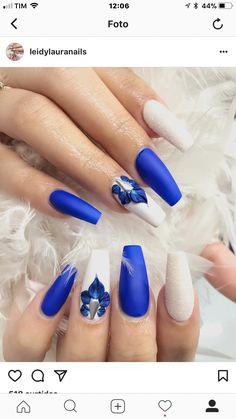 Nails Acrylic Blue Glitter Art Designs Ideas For 2019 Diva Nails, 3d Nails, Matte Nails, Blue Nails, Acrylic Nails, Nail Art Blue, Gel Nail, Coffin Nails, Nail Polish