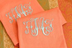 Monogrammed linen guest towels, from Leontine Linens. Done by hand.